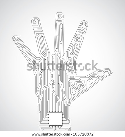 Circuit board pattern in the shape of hand palm - stock vector