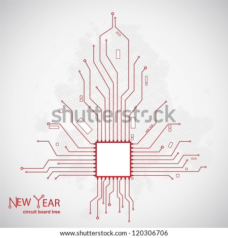 Circuit board pattern in the shape of the Christmas tree