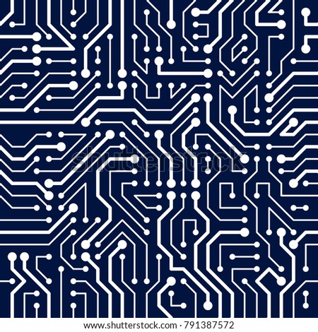 Circuit Board Seamless Pattern Vector Background Microchip Technology Electronics Wallpaper Repeat Design