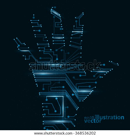 Circuit board shape of hand palm, abstract technology illustration eps10 - stock vector
