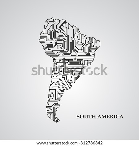 Circuit board South America eps 10, vector elegant illustration - stock vector