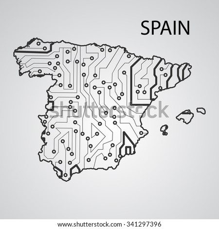 Circuit board Spain eps 10, vector elegant illustration