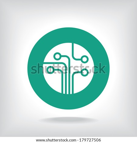 Circuit board, technology icon, vector illustration. Flat design style - stock vector