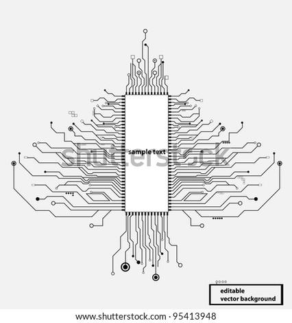 circuit board tree vector format - stock vector