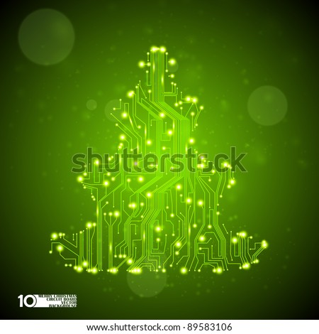 circuit board vector background, technology illustration, christmas tree eps10 - stock vector