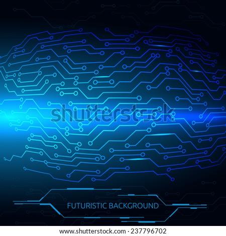 Circuit board vector illustration. Futuristic background. - stock vector