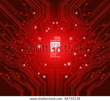 circuit board vector red background - stock vector