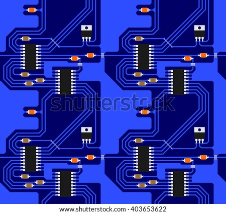 Circuit board vector seamless pattern - stock vector