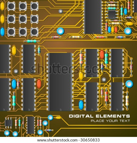 Circuit board with microchips - stock vector