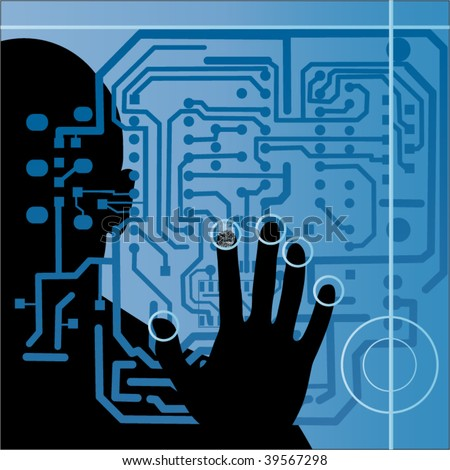 circuit board with silhouette of male hand - stock vector