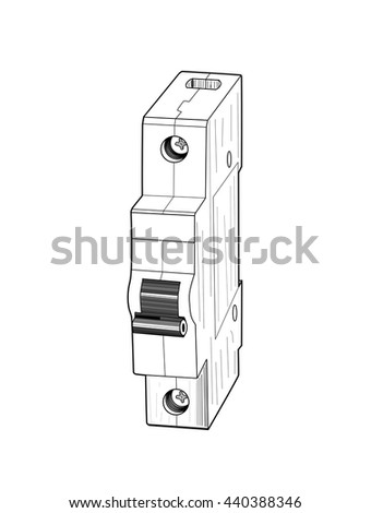 Circuit breaker isolated on white background - vector illustration.  - stock vector