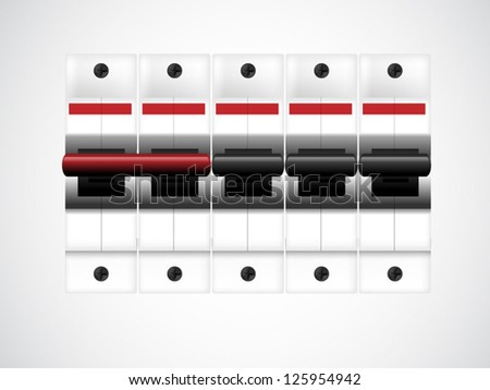 Circuit breakers on white. illustration - stock vector