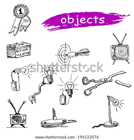 circuit conductor battery battery bulb icon set target darts electricity scissors broken knife pocket Swiss television tv award prize wire jack  icon set - stock vector
