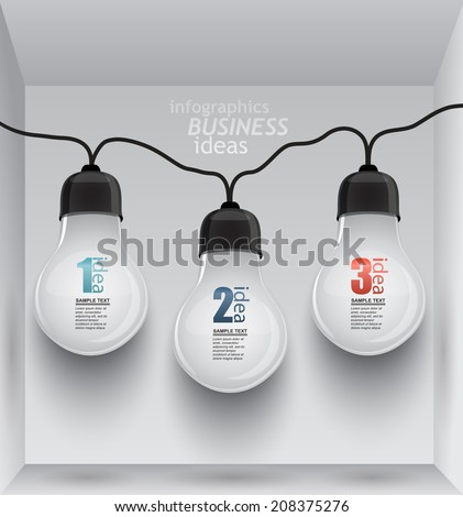 circuit of the light bulbs in the room / infographics element ideas - stock vector