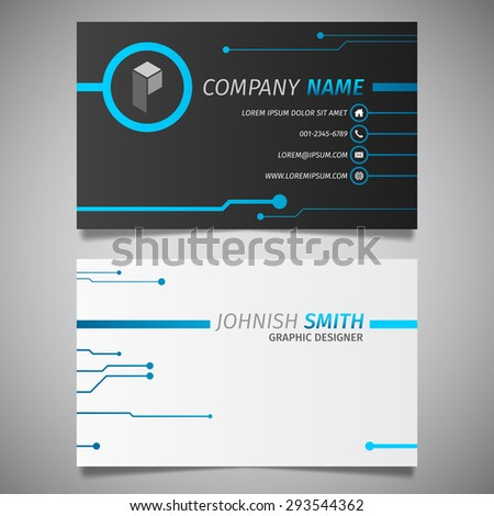Circuit technology creative design simple business stock vector hd circuit technology creative design simple business card black and blue template vector reheart Gallery