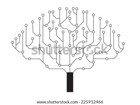 circuit tree - stock vector