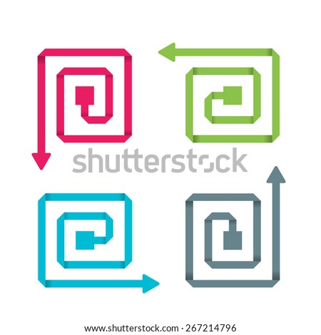 Circular arrow set. Four circular arrows: pink, blue, green, grey.  Paper arrow. Vector template in modern style. For infographic and presentation - stock vector