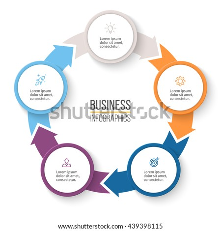Circular arrows infographics chart graph diagram stock vector circular arrows for infographics chart graph diagram with 5 steps options ccuart Image collections
