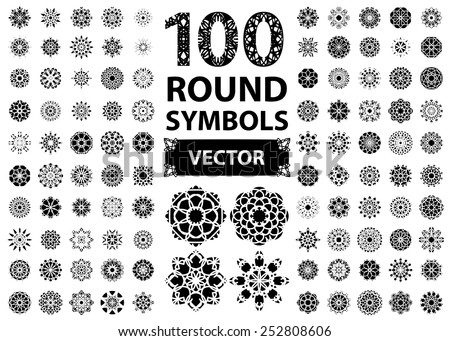 Circular Asian ornament set. Vector isolated symbols - stock vector