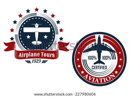 Circular aviation emblems or badges showing a small private plane with text Airplane Tours and commercial jetliner with text Aviation - stock vector