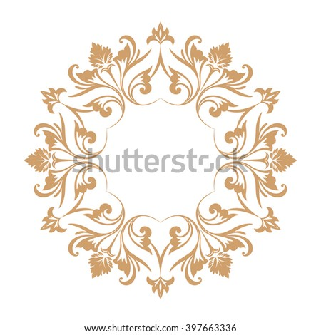 Circular baroque pattern. Round floral ornament. Vector element of graphic design - stock vector