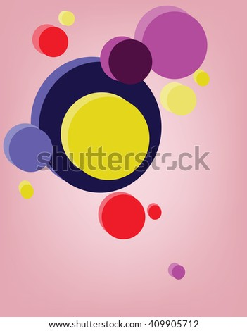 Circular composition. Multiple colorful circles placed one near another. Graphic design banner illustration template. Digital vector background image. - stock vector