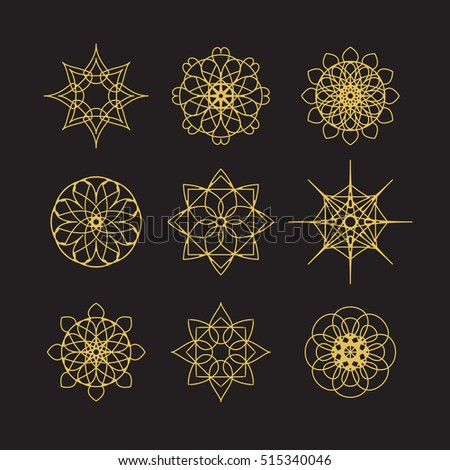 Circular east ornament set. Vector symbols collection