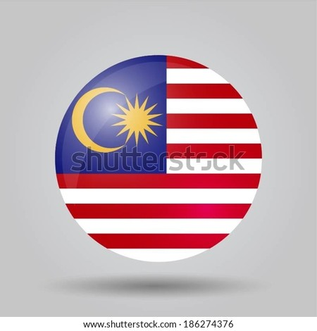 Circular flag with shadow and 3D effect, on grey background - Malaysia
