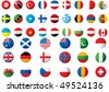 circular flags of the world on a white background - stock photo