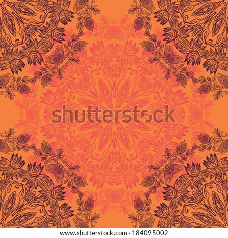 circular floral ornament orange seamless pattern - stock vector
