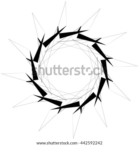 Circular geometric element. Rotating shapes, forms abstract vector illustration.