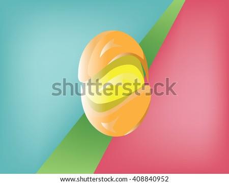 Circular glossy shiny objects. Swirl elements on colorful backdrop. Modern stylish symbols. Digital vector illustration. - stock vector