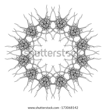 Circular graphic pattern in style of flower on a white background