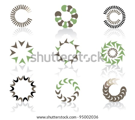 Circular Icon Symbol Logo Element set EPS 8 vector, grouped for easy editing. No open shapes or paths. - stock vector