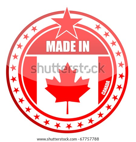 Circular illustration made in canada stamp isolated over a white background. - stock vector
