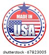 Circular illustration made in USA stamp isolated over a white background. - stock photo
