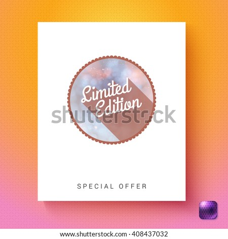 Circular limited edition special offer badge advertising card template in white rectangle over orange and pink gradient with purple gumdrop square button in corner - stock vector