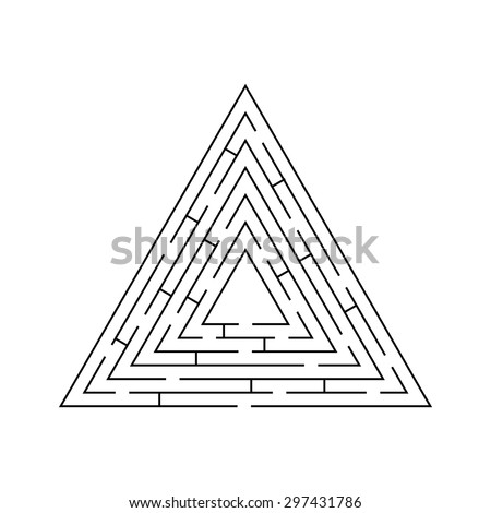 circular maze that is in the form of a triangle black on white - stock vector