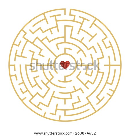 circular maze with heart element isolated on white background - stock vector