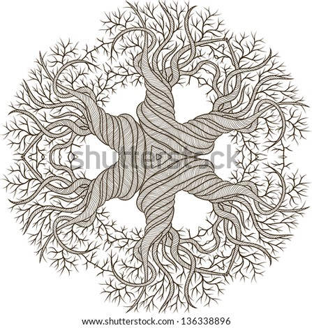 Circular ornament from abstract tree with curling barrel. - stock vector