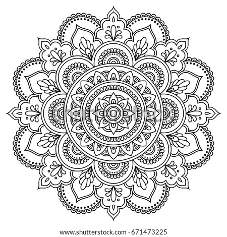 Circular pattern form mandala henna mehndi vector de stock for Henna coloring pages