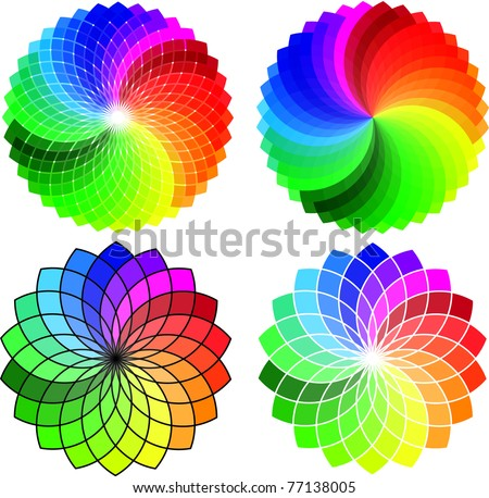 Circular Pattern set, vector abstract background - stock vector