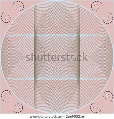 Circular pattern with guilloche elements. Abstract vector illustration