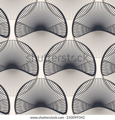 Circular radiant elements into a seamless pattern, vector background. - stock vector