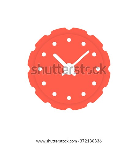 circular red clock icon. concept of alert, measurement, accuracy, precision, optimization, control, mechanism. isolated on white background. flat style trend modern logotype design vector illustration - stock vector