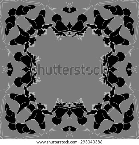 Circular seamless  pattern of  floral garland, branches, waves,  spots, copy space. Hand drawn.