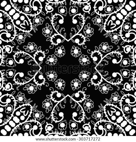 Circular  seamless pattern of floral  motif, flowers,  spots,  branches, doodles, spirals, ellipses, leaves. Hand drawn.