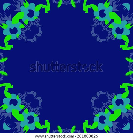 Circular  seamless pattern of  floral motif, spots,ellipses, hole, copy space. Hand drawn.