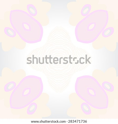 Circular  seamless pattern of stylized flowers, ellipses, stars. Hand drawn.