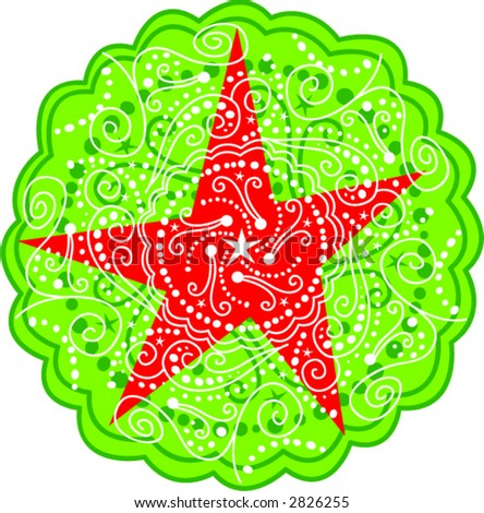 Circular Star Tattoo Design - stock vector